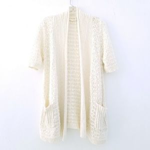 Moth Cream Open Knit Short Sleeve Sweater